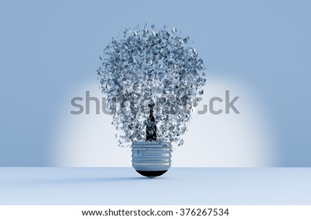 3d image of electric bulb explosion background - stock photo