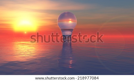 3d image of electrical and water energy - stock photo