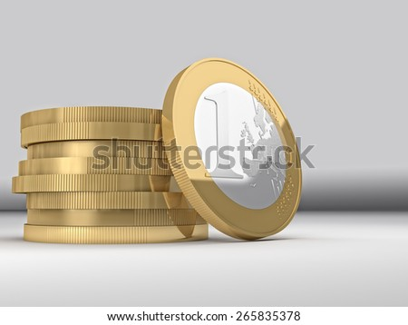 3d image of euro coin background - stock photo