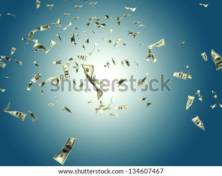 3d image of flying dollar