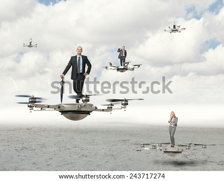 3d image of futuristic drone and business people - stock photo
