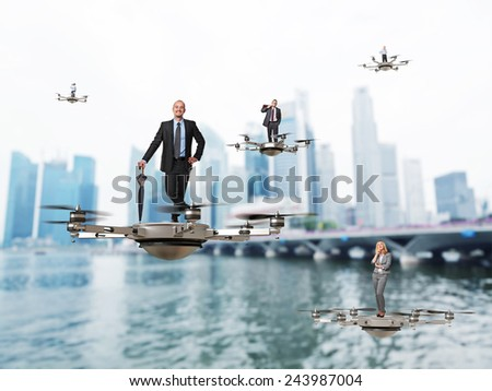 3d image of futuristic drone and workers - stock photo
