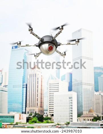 3d image of futuristic spy camera drone - stock photo