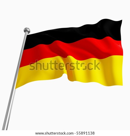 3d image of german flag on white background - stock photo
