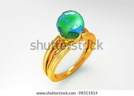 3d image of globe in gold ring against white background - stock photo