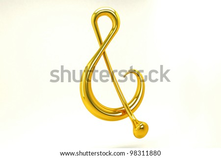 3d image of golden music note against white background - stock photo