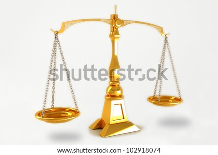 3d image of golden scale against white background - stock photo