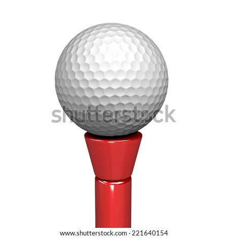 3D image of golf ball on white background. - stock photo