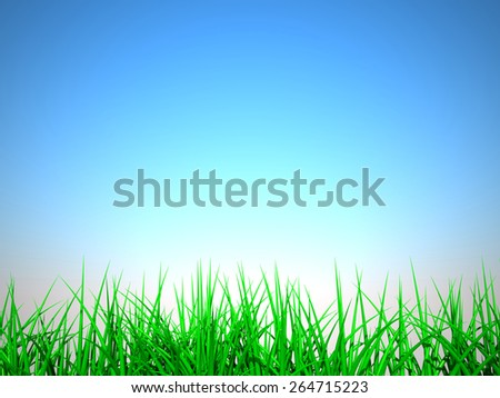 3D image of grass on summer background.