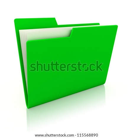 3d image of green file folder - stock photo