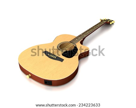 3D image of guitar on grey background.