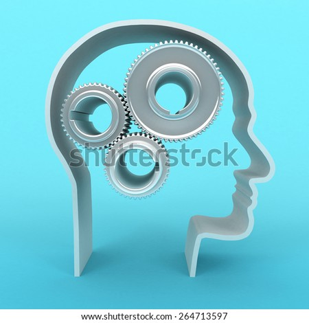 3D image of head with gears on blue background.