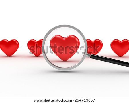 3D image of heart search on white background.