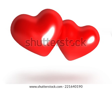 3D image of hearts, isolated on white.