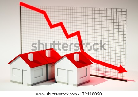 3d image of house with graph falling - stock photo