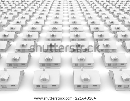3D image of houses white background - stock photo