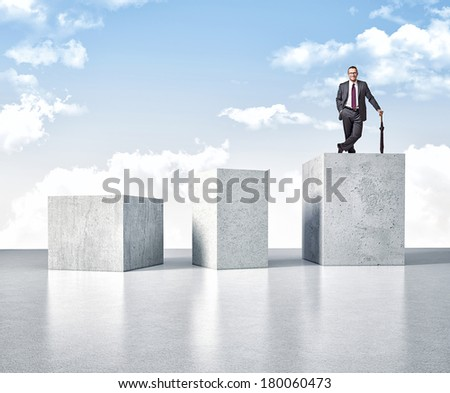 3d image of huge concrete block and smiling man