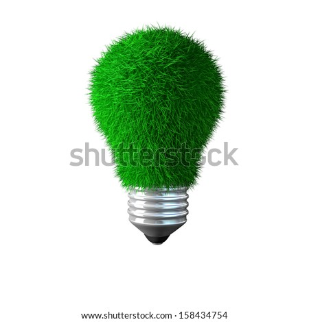 3d image of isolated green bulb