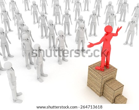 3D image of leader talking to a crowd on white background. - stock photo