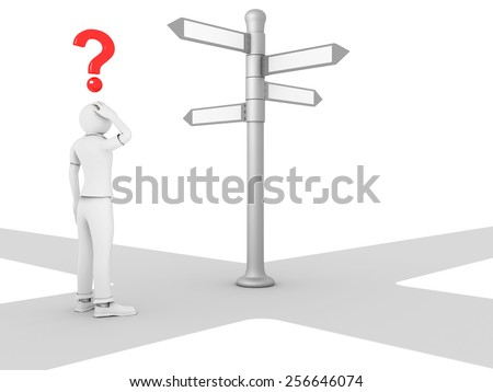 3D image of man choosing which is the right path - stock photo