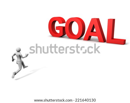 3D image of man running to goal
