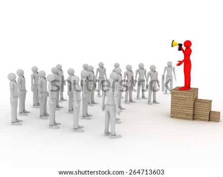 3d image of man with megaphone and crowd on white background.