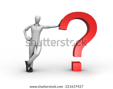 3D image of man with question.