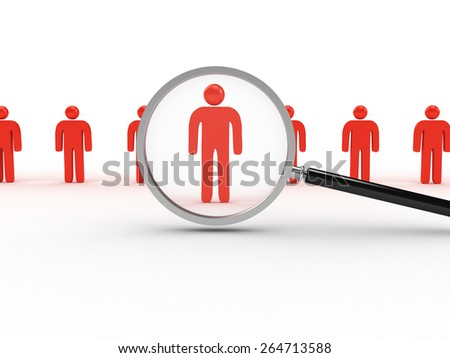 3D image of men in a row with magnifying glass searching them. - stock photo