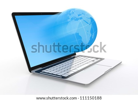 3D image of modern laptop and globe flying from screen isolated on white background - stock photo