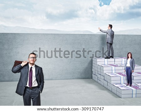 3d image of money stair and business people