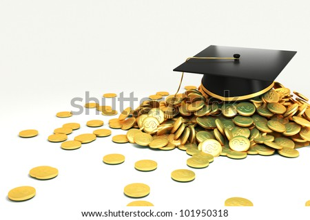 3d image of mortar board on hip of gold coin against white background - stock photo