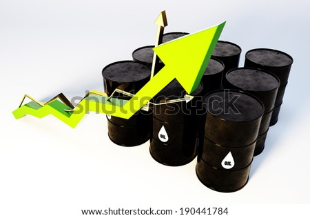 3d image of oil barrels with graph growing - stock photo