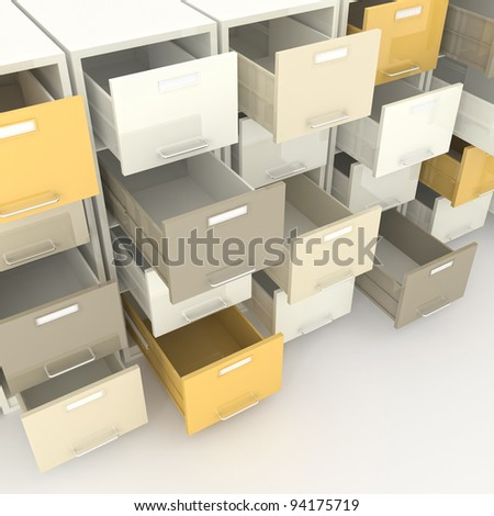 3d image of open drawer of file cabinet - stock photo