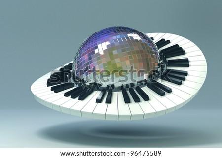 3d image of piano key revolving around disco mirror ball - stock photo