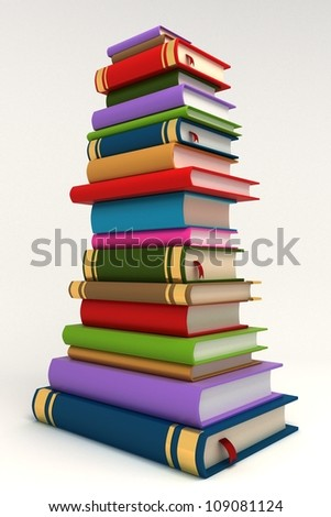 3d image of pile of colorful book against white background - stock photo
