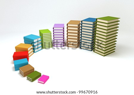 3d image of pile of colorful book forming bar graph