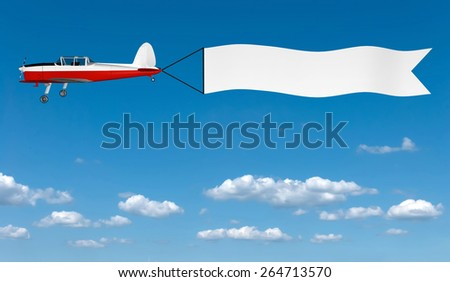 3D image of plane with banner on sky background. - stock photo