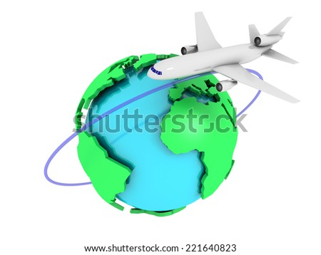 3D image of plane with globe on white background.