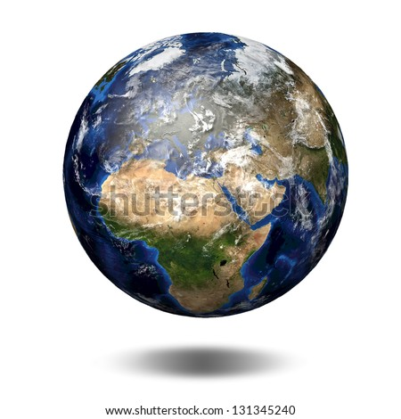3D image of planet Earth. View to Europe and Africa Elements of this image furnished by NASA - stock photo