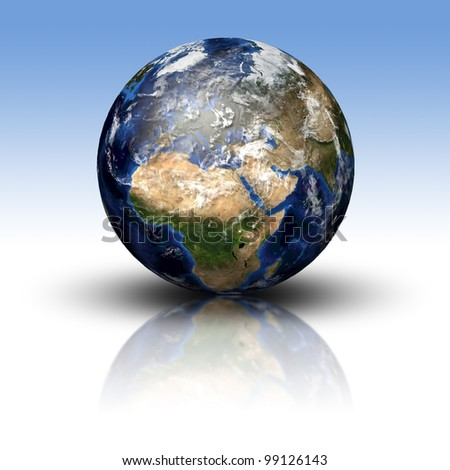 3D image of planet Earth with shadow and reflection. View to Europe and Africa. Elements of this image furnished by NASA