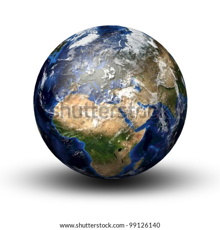 3D image of planet earth with shadow isolated on white. View to Europe and Africa. Elements of this image furnished by NASA - stock photo