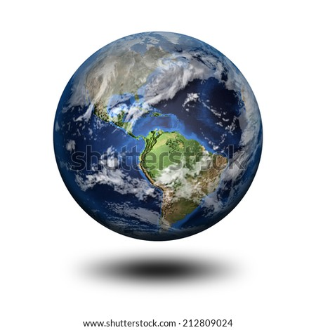 3D image of planet Earth with shadow. View to North and Latin America. Elements of this image furnished by NASA