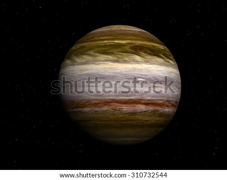 3d image of planet Jupiter in the starry sky, high resolution Elements of this image furnished by NASA - stock photo