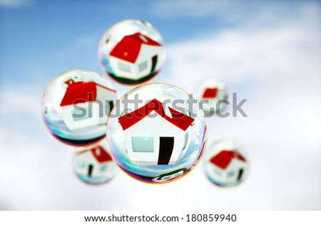 3D Image of real-estate (house) bubbles - stock photo