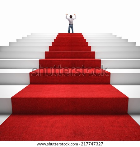 3d image of red carpet on white stair and happy man