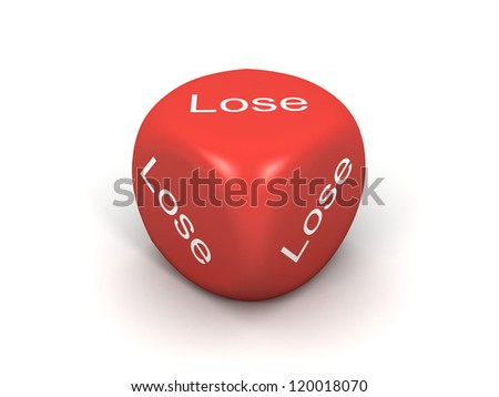 3d image of red dice with all loosing sides. - stock photo