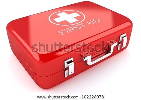 3d image of red first aid box against white background - stock photo