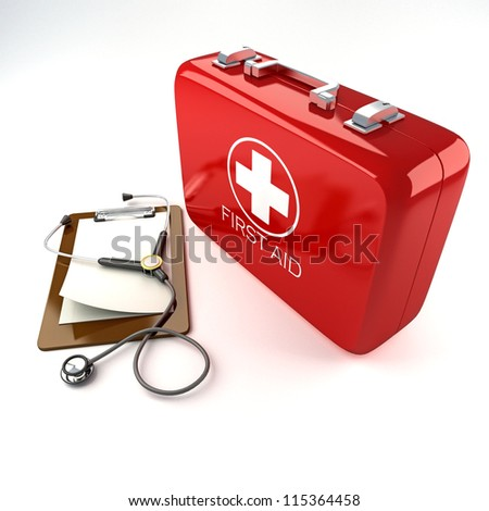 3d image of red first aid box with stethoscope against white background - stock photo