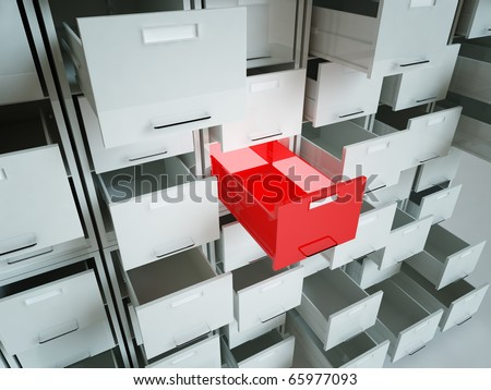 3d image of several cabinet folder drawer background - stock photo