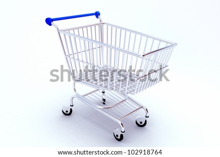 3d image of shopping push cart against white background